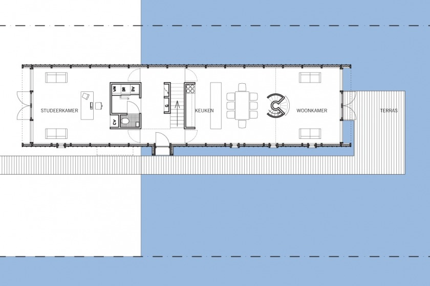 HOYT architect zinken schip rotterdam modern wonen aan het water particulier plattegrond