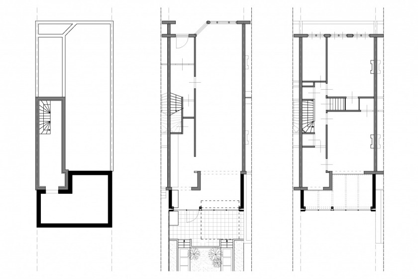rotterdam glass extension modern architecture 30's private client HOYT architect floorplan
