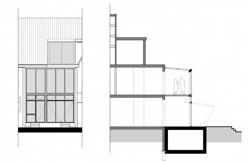 rotterdam glazen uitbouw modern architectuur glas jaren 30 particuliere woning HOYT architect gevel doorsnede