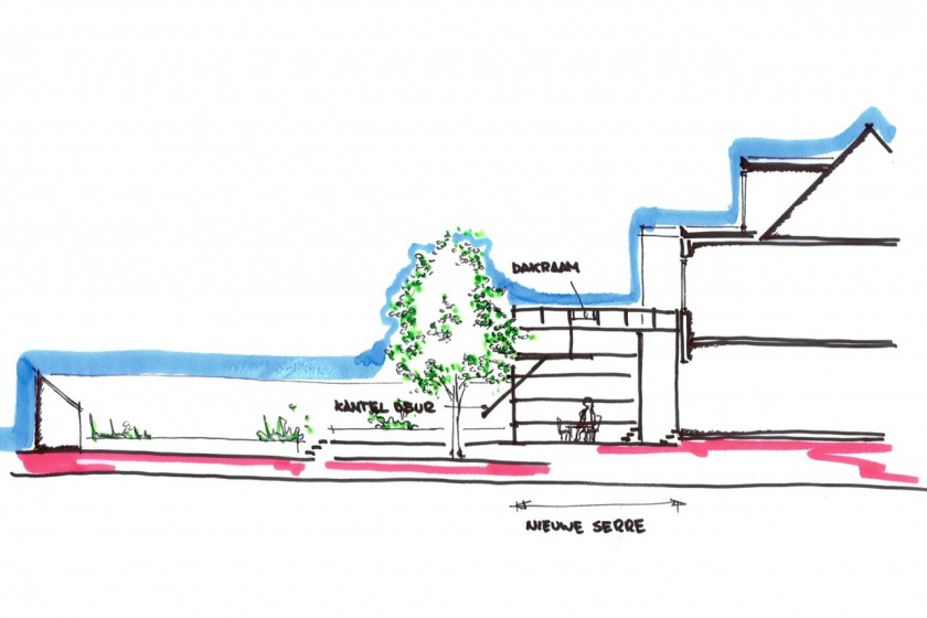 rotterdam glazen uitbouw modern architectuur glas jaren 30 particuliere woning HOYT architect schets