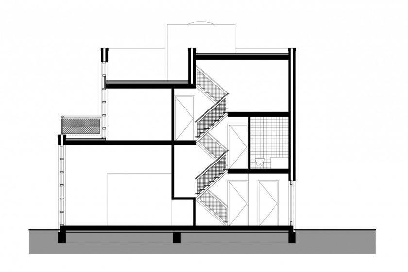 HOYT architect breda kroeten woningbouw woning modern archtitectuur metselwerk baksteen doorsnede