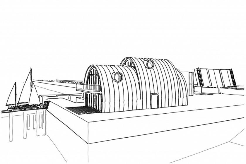 zink vis restaurant ellips amsterdam ijburg ontwerp modern architectuur architect HOYT