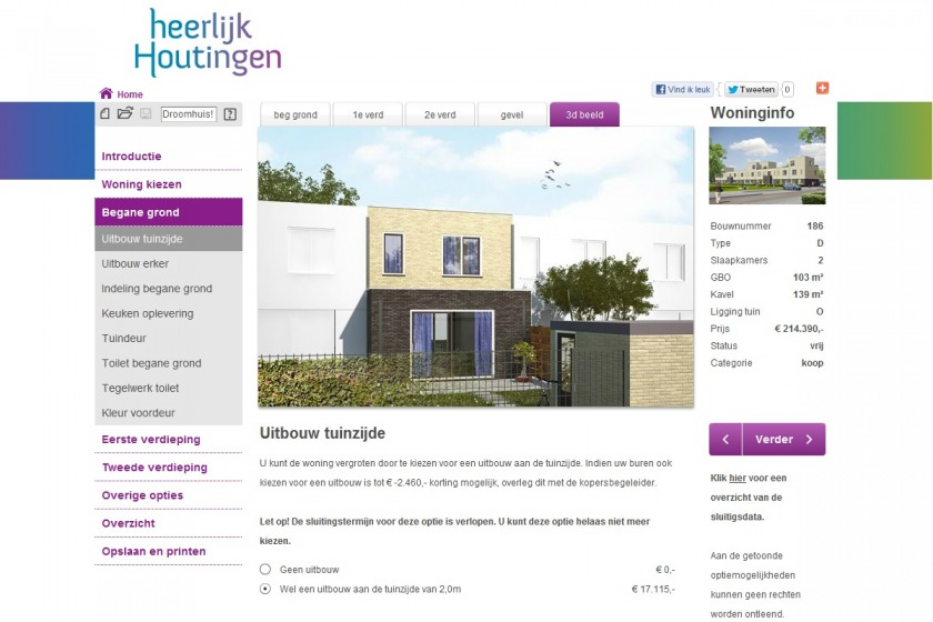 HOYT architect multimedia web application housing configurator house compose composer click option extension new building project Heerlijk Houtingen Hoogvliet Rotterdam