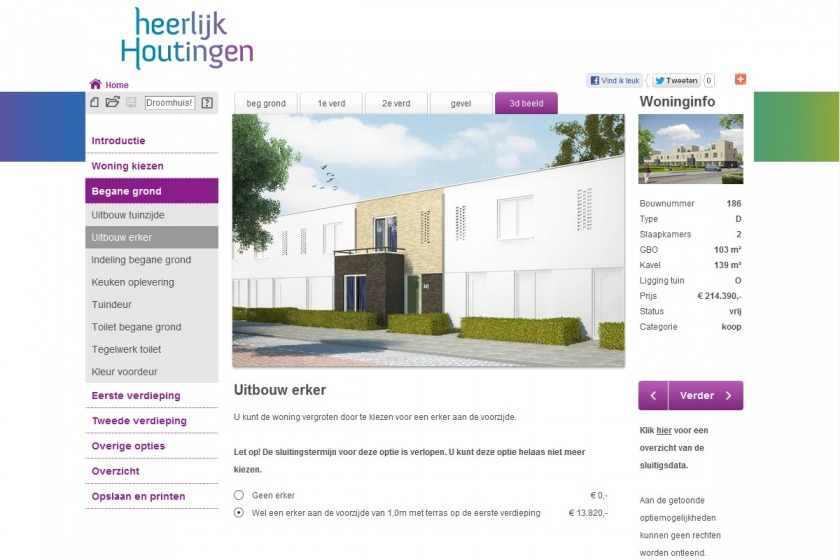 HOYT architect multimedia web application housing configurator house compose composer click option extension new building project Heerlijk Houtingen Hoogvliet Rotterdam