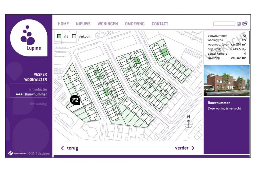 HOYT architect multimedia web applicatie woonwijzer woning configurator woning samenstellen klikken opties uitbouw nieuwbouw project Lupine Vesper Rotterdam Schiebroek