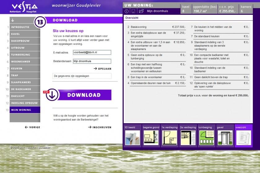 HOYT architect multimedia web applicatie woonwijzer woning configurator woning samenstellen klikken opties uitbouw nieuwbouw project Goudplevier Rotterdam Hoogvliet Vestia Makreelstraat Barbeelsingel