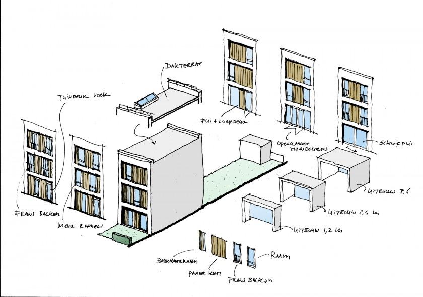 housing plaster brick town house HOYT Architects